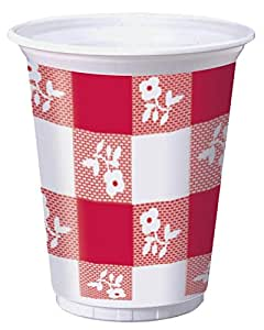 Creative Converting 16 oz. Printed Plastic Cup - Red Gingham 25 Count - Case of 12