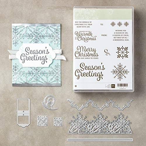 Amazon.com: Snow Flower Edge Stamps and Dies for Card Making Scrapbooking Christmas Die Cuts, Dies