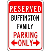 """Metal Signs Buffington Family Parking - Customized Last Name - 12""""X18"""" Quality Aluminum Sign"""