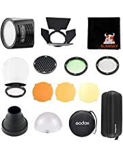 GODOX H200R Ring Flash Head + AK-R1 Accessories Kit for Godox AD200 Pocket Flash (Diffuser Ball,Color Filters,Honey Comb, Snoot, Barn Door and H200R Round Flash Head)