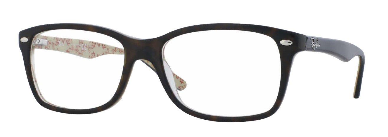 Ray-Ban RX5228 Eyeglasses (55 mm, Dark Havana w/ Beige Frame) by Ray-Ban