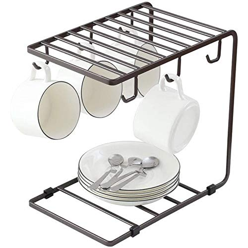 JUKER Metal Wire Coffee Mug Cup Holder Rack Organizer Stand for Kitchen Counter, Cabinet, Table | Universal 6 Hooks Shelf for Large Mugs | Storage, Display and Drying - Black