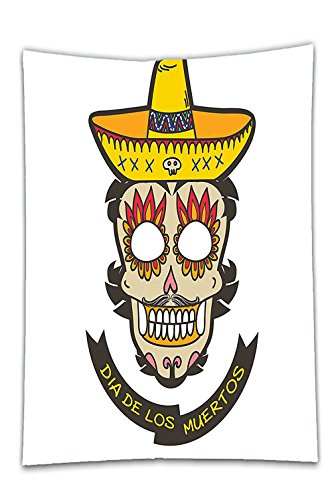 Interestlee Satin drill Tablecloth?Day Of The Dead Decor Colorful Skull with Sombrero and Moustache and Fire Eyes White Ivory and Yellow Dining Room Kitchen Rectangular Table Cover Home Decor