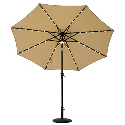 f9f884cbe27a FLAME&SHADE 9ft Patio Umbrella, LED Outdoor Market Parasol with Crank Lift,  Push Button Tilt, Beige