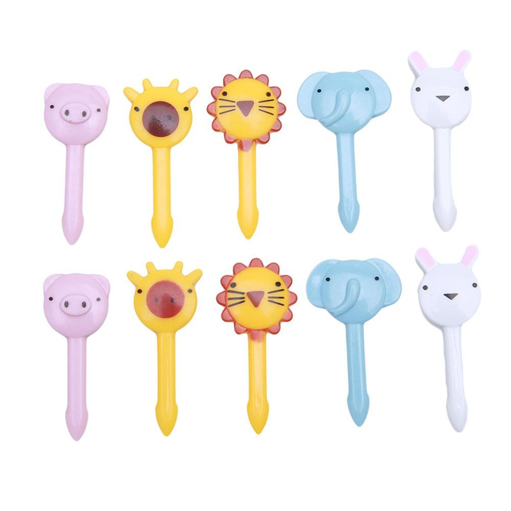 VWH 10pcs Animals Zoo Food Picks and Forks