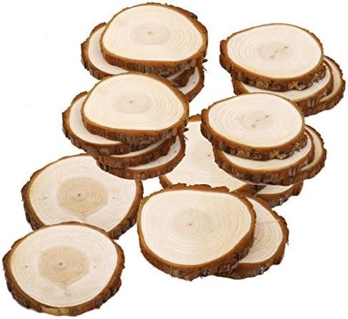 20個 DIY 工芸品 結婚式 装飾 6〜9cm シダー ウッド 木のスライス 木片 木材
