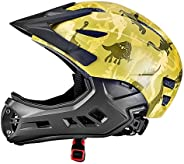 Full Face Detachable Bike Helmets for Kids 5-10 Years, Girls & Boys Sport MTB Bicycle Helmets Safety Prote