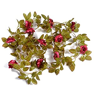 AlphaAcc 37 Feet-Artificial Vintage Rose Flower Garland Greenery Leaves Vines Home Party Wedding Wall Decoration Plants 2