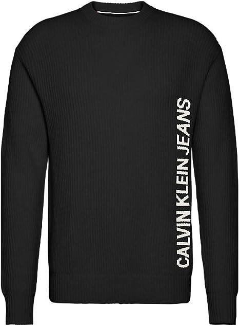 Calvin Klein J30J313164BAE - Camiseta para hombre con logotipo de lana negra: Amazon.es: Ropa y accesorios