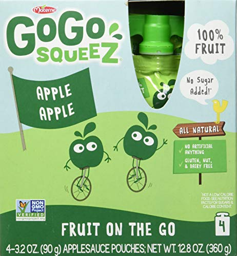 GoGo squeeZ Applesauce on the Go, Apple Strawberry, 3.2 Ounce (48 Pouches), Gluten Free, Vegan Friendly, Healthy Snacks, Unsweetened Applesauce, Recloseable, BPA Free Pouches ()