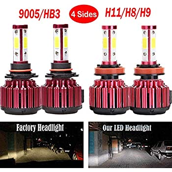 WISWIS LED Headlight Bulbs For GMC Sierra 1500 (2008 to 2013), 9005 H11 High Beam and Low Beam Combo Set High Power 400W Per Bulb 6000K Cool White 40000 ...