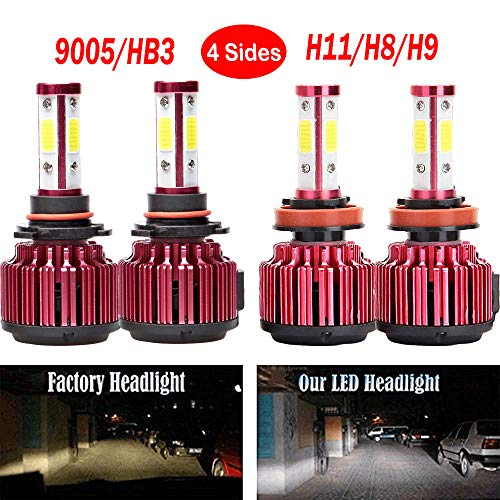 400w Cool - WISWIS LED Headlight Bulbs For GMC Sierra 1500 (2008 to 2013), 9005 H11 High Beam and Low Beam Combo Set High Power 400W Per Bulb 6000K Cool White 40000 Lumens Super Bright Headlamp Replacement Kit