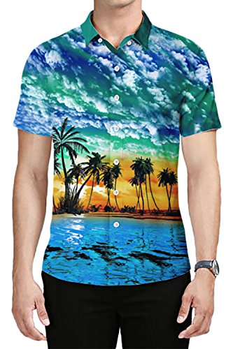 TUONROAD Men's 3D Printed Flower Hawaiian Shirt Casual Tropical Beach Holiday Aloha Short Sleeve Button Down Shirt