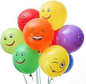 """PROLOSO Emoji Latex Balloons with Assorted Colors & Cartoon Patterns for Party Ceremony Decorations Party Favors 12"""" Pack of 100"""