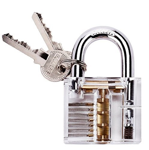 Professional Padlocks Lock Crystal Cutaway of Practice Training Skill Pick Lock for Beginners Locksmith with Two Keys