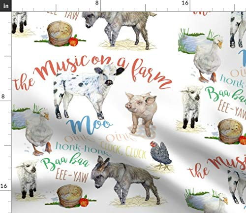 Fabric Barnyard - Farm Animal Illustration Light Fabric - Fantastic Karaskye Watercolor Nature Animals Cow Goose Barnyard Print on Fabric by the Yard - Fleece for Sewing Blankets Loungewear and No-Sew Projects