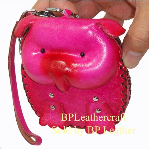 Genuine Leather Wristlet Change/coin Purse, Unique Id Card Holder/wallet, Pig Face Cover, 4.5'x4.0'x1.0′ Pink, Bags Central