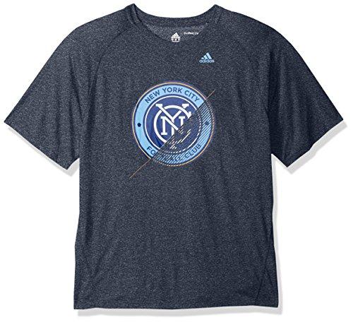 adidas MLS Nycfc Adult Men Striker Climalite S/Tee, Large, Collegiate Navy Heathered