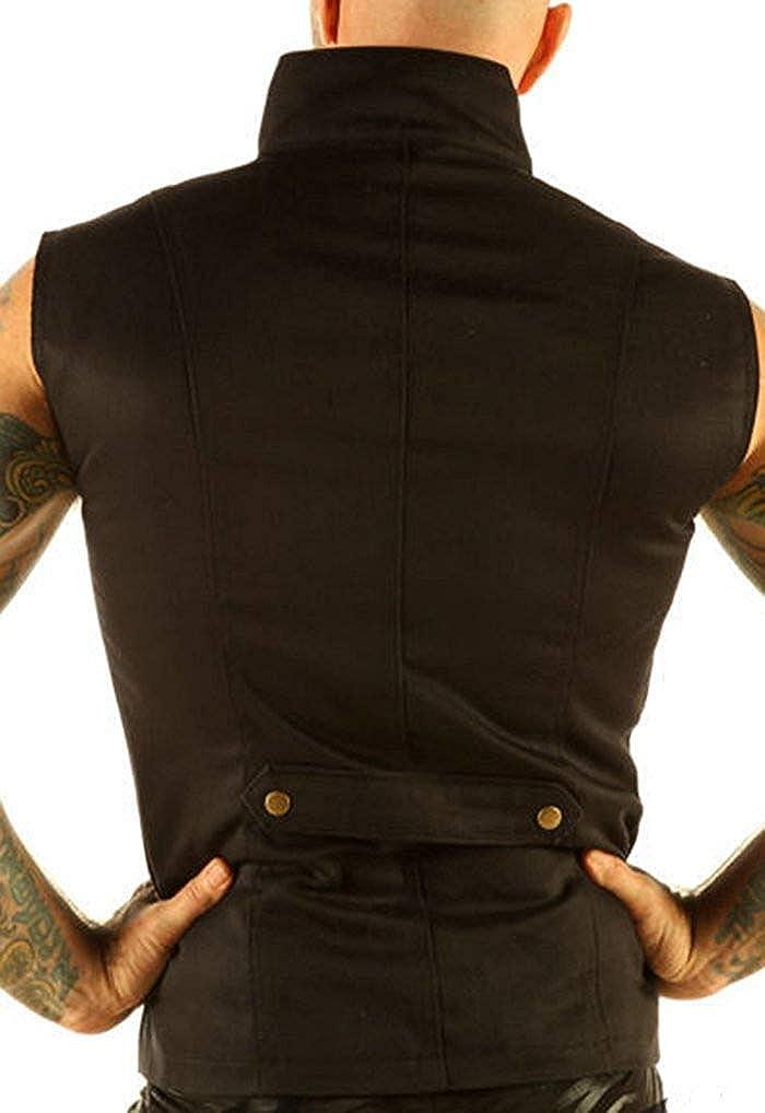 Leatherotics Men's Steampunk Military Gothic Cotton Waistcoat Vest Top Mandarin Collar SPA1