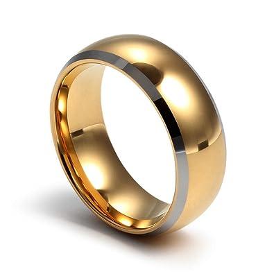 Goldring breit herren  YKQJING Neue hochwertige Herren vergoldet Wolfram gold ring 8mm ...