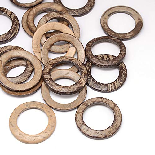Kissitty 200Pcs Coconut Wood Linking Rings 38x2-5mm for DIY Jewelry Craft Making