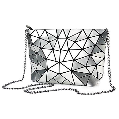 Women Clutch for Sliver Geometric Holographic Crossbody Leather Metal PU Purse Handbag Laser Chain wqP1Pgx