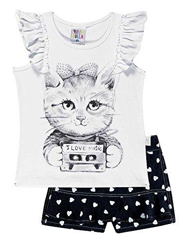 Toddler Girl Outfit Graphic Shirt & Shorts Set Pulla Bulla 3 Years - (Kitty Denim Shirt)
