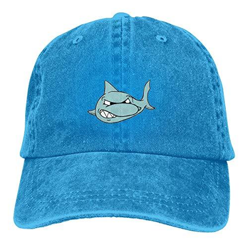 Aegatelate-hat Unisex Adult Scary Shark Fierce Washed Denim Cotton Sport Outdoor Baseball Hat Adjustable Child