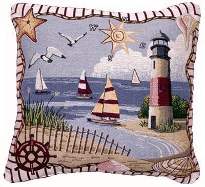 Coastal Memories Decorative Tapestry Toss Pillow USA Made SKU: - Pillows Tapestry Friends