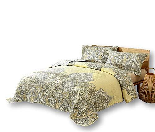 DaDa Bedding Pale Daffodil Bedspread Set - Bohemian Light Yellow Grey Floral Paisley - King - 3-Pieces