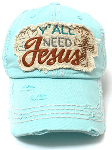 CAPS 'N VINTAGE hearts, Cross, Y'all Need Jesus Patch Embroidery Hat-Ice Blue (For Women Hat Ice)