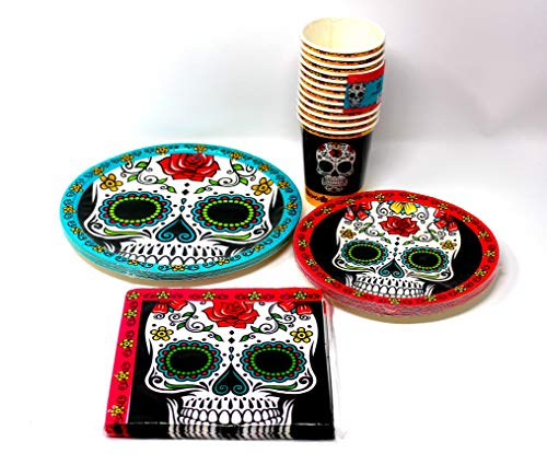 Sugar Skull, Day of the Dead Party Supplies, Plates, Napkins, Cups, Bundle of 4 - Service for 16