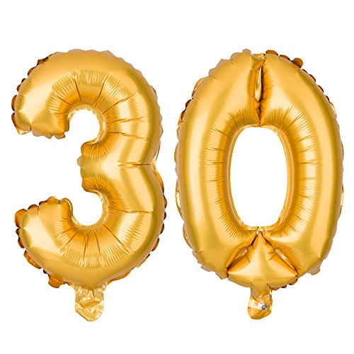 Ella Celebration Non-Floating 30 Number Balloons 30th Birthday Anniversary Party, Decorations Supplies Small 13 Inch (Gold) -