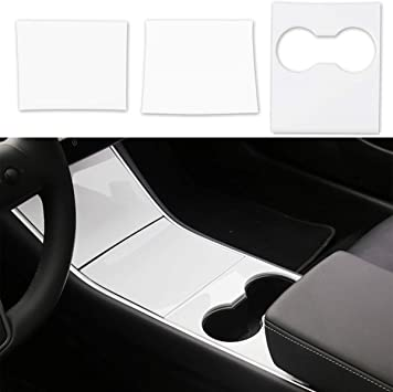 Tesla Model 3 Center Console Wrap ABS Matte Black Console Cover Interior Decoration Wrap Kit Tesla Model 3 Accessories Easy to Install