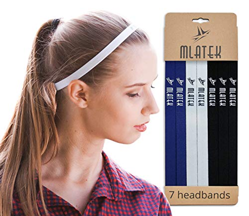 Elastic Sports Headbands - 7 Pack Thin Skinny Bands for Women and Men - Mini Head Bands with Non Slip Silicone Grip - Headband for Athletics, Running, Soccer, Jogging, Workout