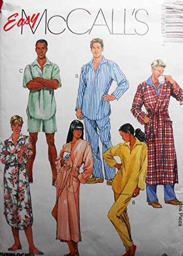 Mens Robe Sewing Pattern (McCalls 9089 Misses and Mens Robe Nightshirt Top and Pull-on Pants and Shorts Sewing Pattern Size Small Medium and Large)