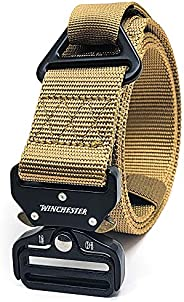 Winchester Tactical Rigger Belt, Nylon Webbing Waist Belt with V Ring Heavy Duty Quick Release Buckle, Lima
