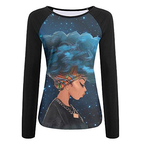 Thinking Blue Hair Africa Women Women's Printing Long Sleeve Tops Sweatshirt T-Shirt XXL by BBlocks