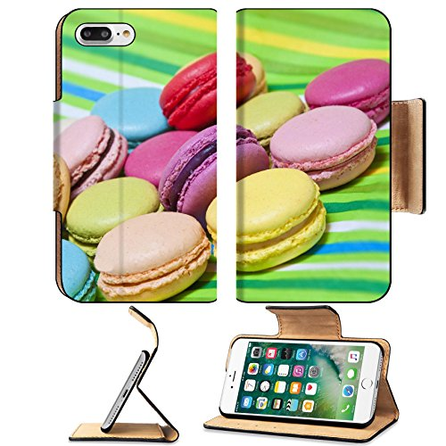 Luxlady Premium Apple iPhone 7 Plus Flip Pu Leather Wallet Case iPhone 7 Plus 21749853 Colorful macarons on green striped background