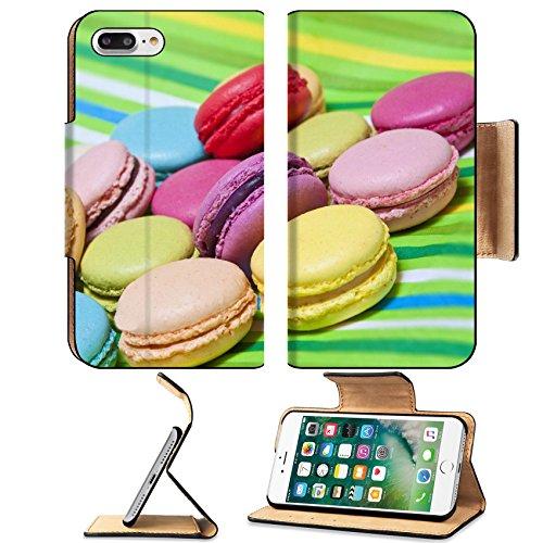 Luxlady Premium Apple iPhone 7 Plus Flip Pu Leather Wallet Case iPhone 7 Plus 21749853 Colorful macarons on green striped (Halloween Macaron Ideas)