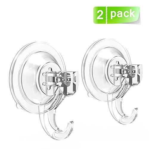 Suction Cup Hooks Quntis Powerful SuperLock Shower Suction Cups ( 2 Pack ) Heavy Duty Vacuum Suction Home Kitchen Bathroom Wall Hooks Hanger for Towel Loofah Cloth Key Women's Handbag