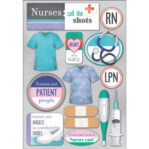 Foster Karen Layouts - KAREN FOSTER Design Acid and Lignin Free Scrapbooking Sticker Sheet, Nurses