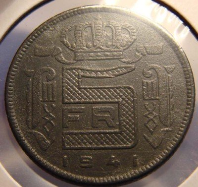Very Fine+ 1941 Belgian 5 Francs -- WWII Nazi Germany Occupation Coin -- Made of Zinc