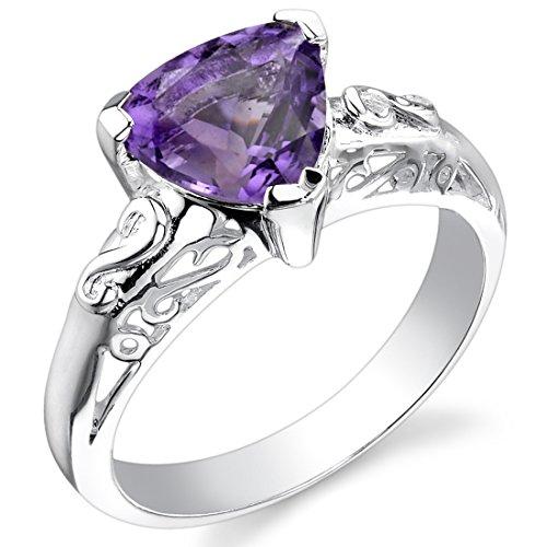 1.50 carats Trillion Cut Amethyst Ring in Sterling Silver Rhodium Nickel Finish size 8