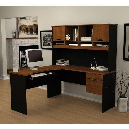 Innova L-Shape Computer Desk with Hutch Return Table: Reversible, Finish: White & Antigua (Bestar Corner Desk)
