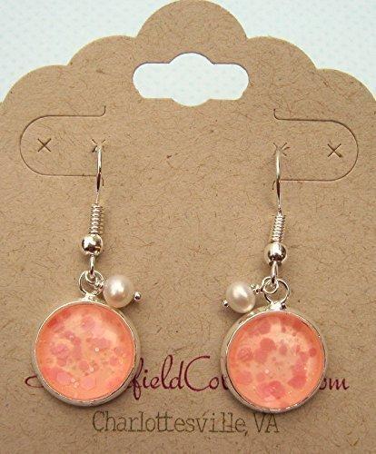 Silver-tone Peach Pink Glitter Glass Cultured Freshwater 4mm Pearl Charm Dangle Earrings (Cultured Kids Earring)