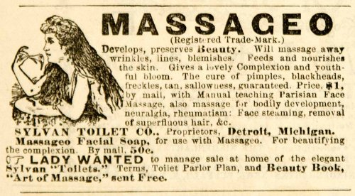 1892 Ad Sylvan Toilet Massageo Facial Soap Health Beauty Cosmetics Victorian Era - Original Print Ad from PeriodPaper LLC-Collectible Original Print Archive
