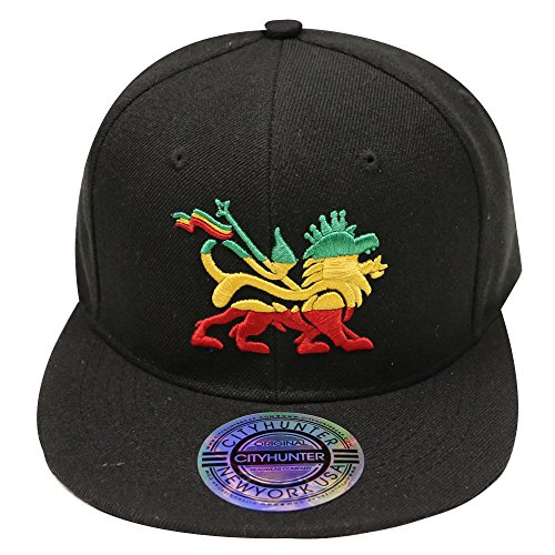 City Hunter Cf1700 Rasta Lion 3D Embroidered Snapback Caps - Multi Colors (Black)