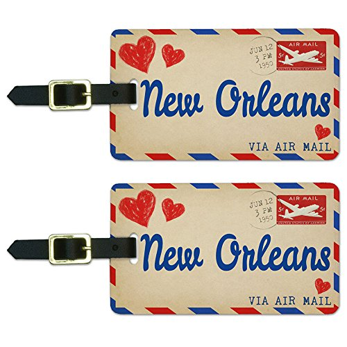 Air Mail Postcard Love for New Orleans Luggage Suitcase ID Tags Set of 2
