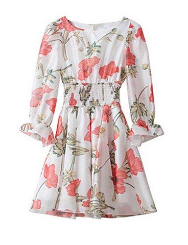 PU&PU Robe Aux femmes Gaine Simple,Fleur Col Arrondi Au dessus du genou Polyester , pink-l , pink-l